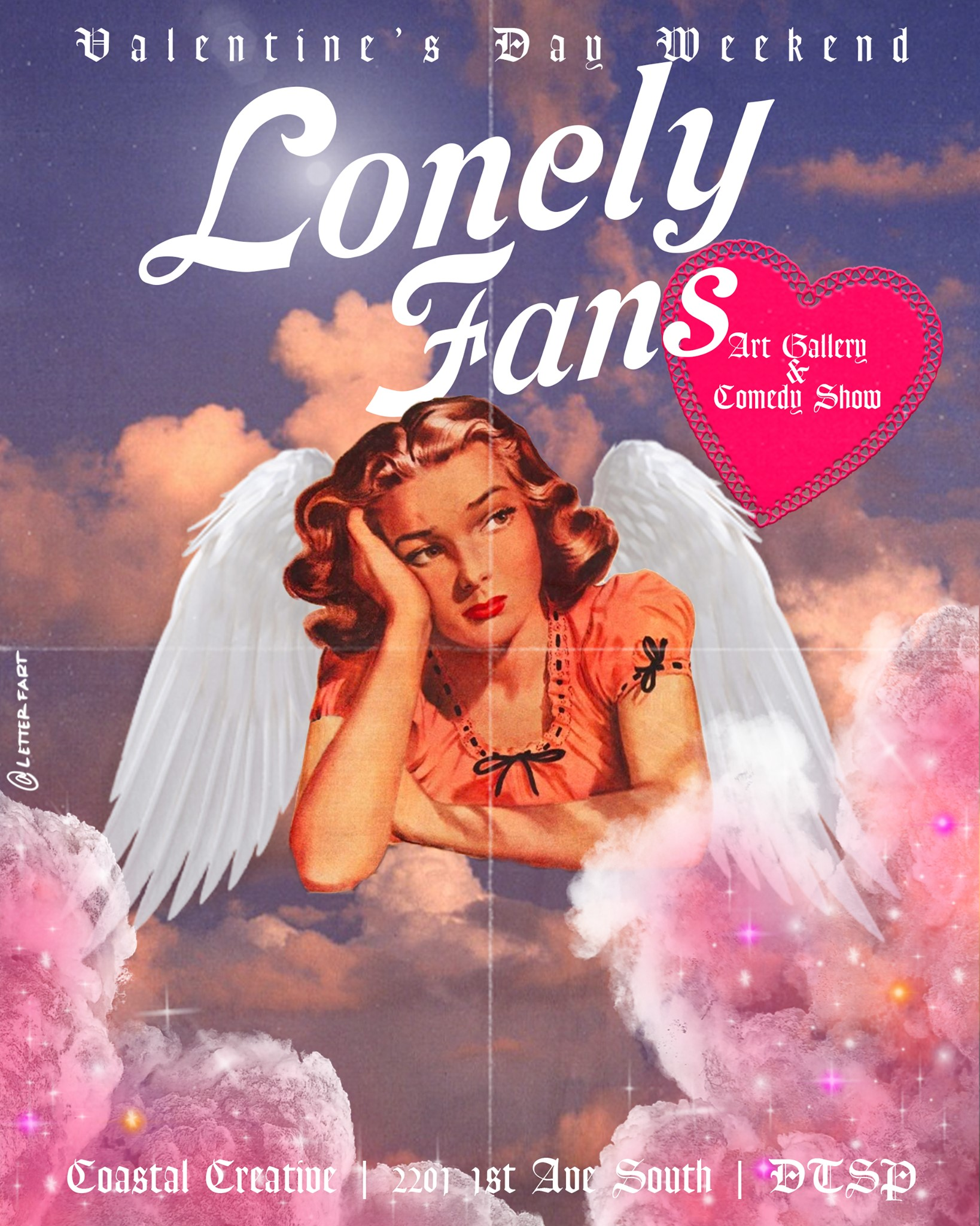"Pink clouds against a blue sky with a woman with angel wings looking off in the distance. It reads ""Lonely Fans."""