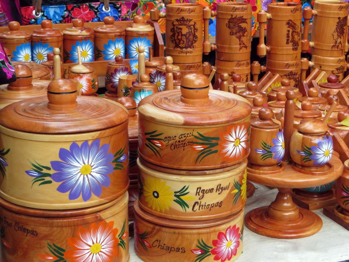 Multiple brown vases and jars at a pottery market