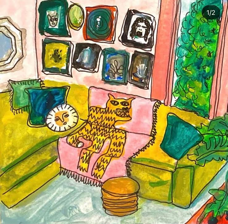 A colorful piece of art of the interior of a room