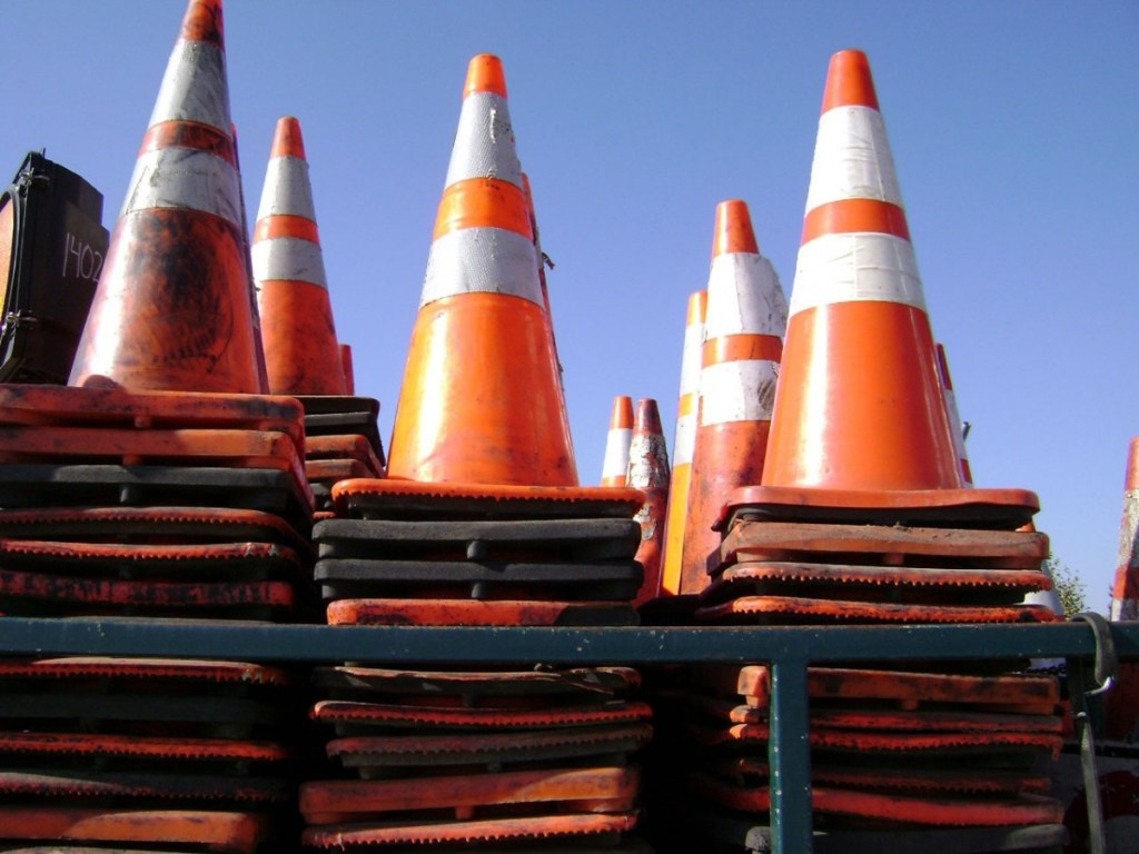 Orange cones stacked on top of each other