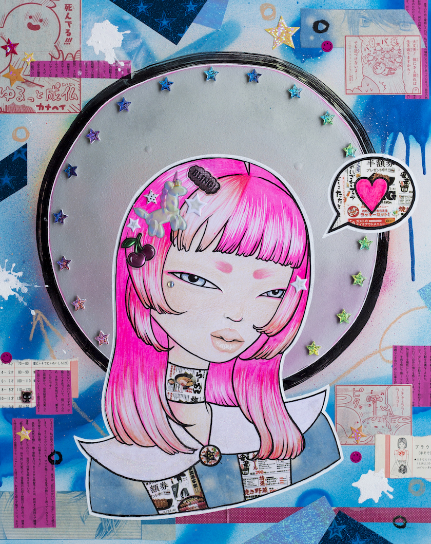 An abstract cartoon with a girl with hot pink hair