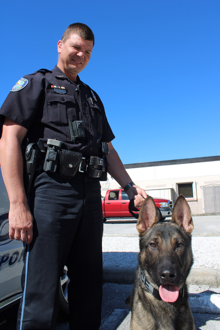 A photo of a male police officer with a German shepherd K-9 officer