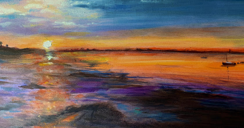A canvass painting of a sunset in orange and blue