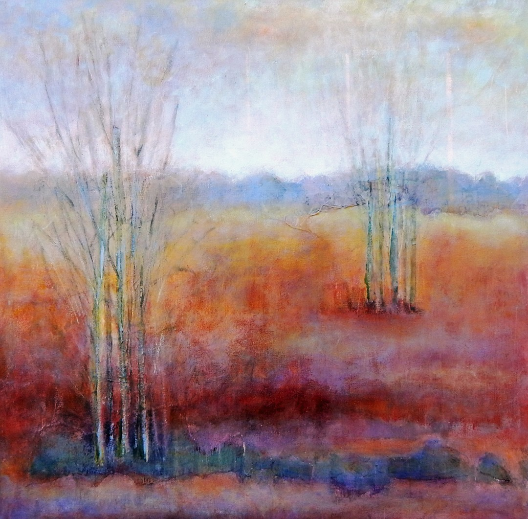 Painting of red and orange trees