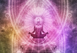Pink and purple drawing of a person meditating