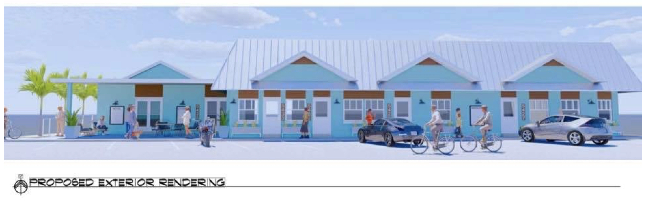 An artist rendering of a development of shops painted blue with card and customers.