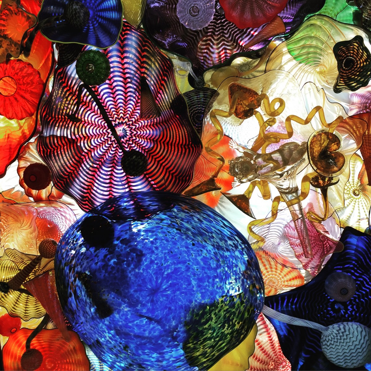 Colorful blown glass