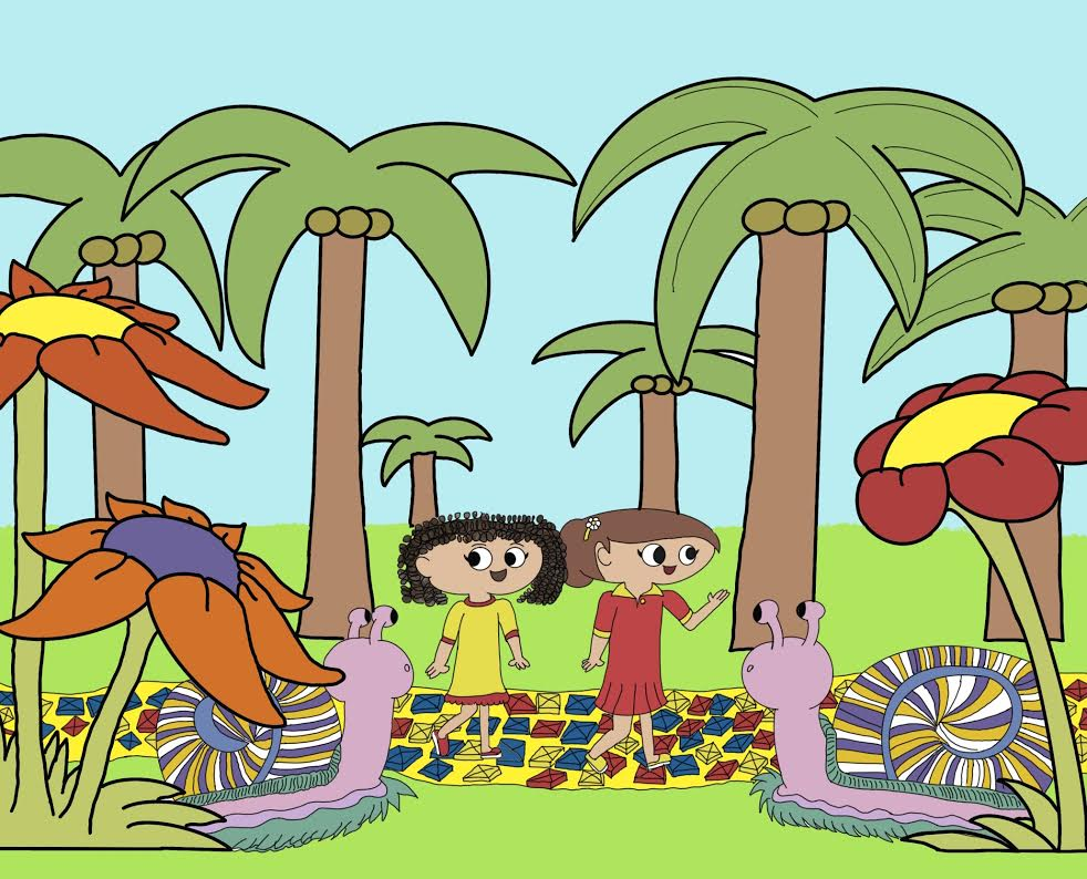 A colorful, cartoonish drawing of two kids in a palm tree jungle