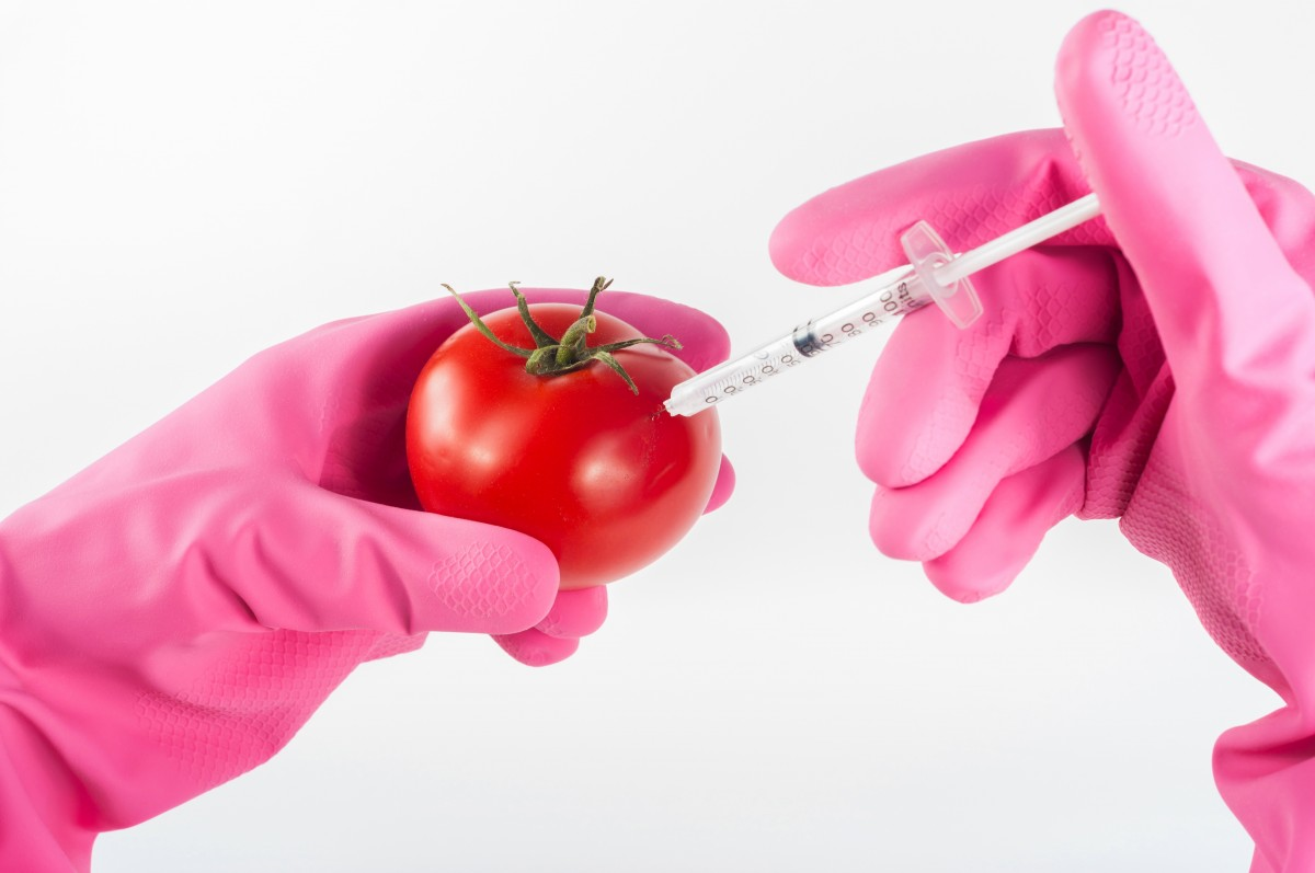 A syringe going into a tomato