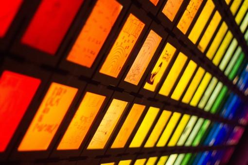 Rainbow lights in the window