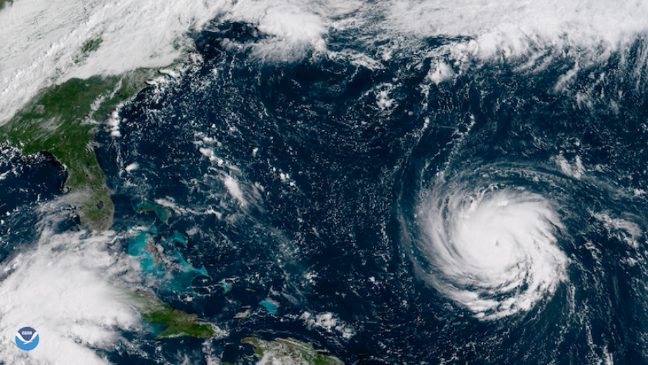A satellite image of hurricane Florence in the Atlantic approaching Florida.