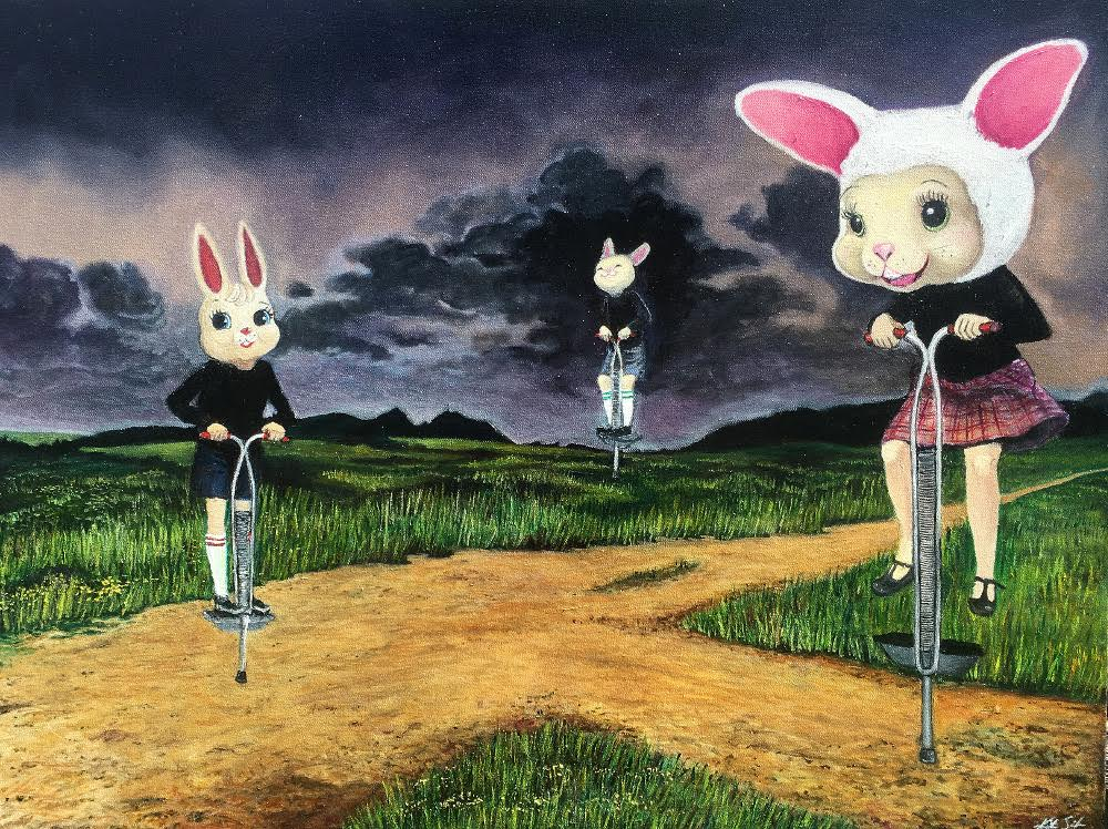 A surreal painting of rabbit-head people in a dark landscape.