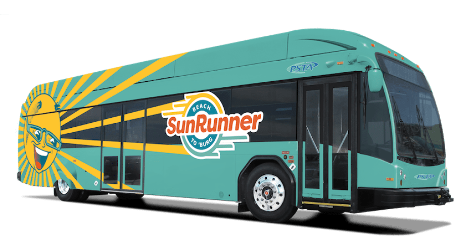 """A graphic of a teal city bus with a yellow sun cartoon on it and the word """"Sunrunner"""" on the side."""