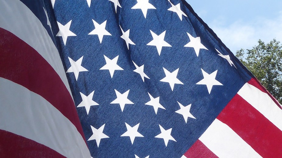 A close up of the blue portion of a US flag.