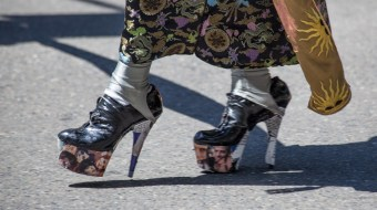 High heels walking down the street