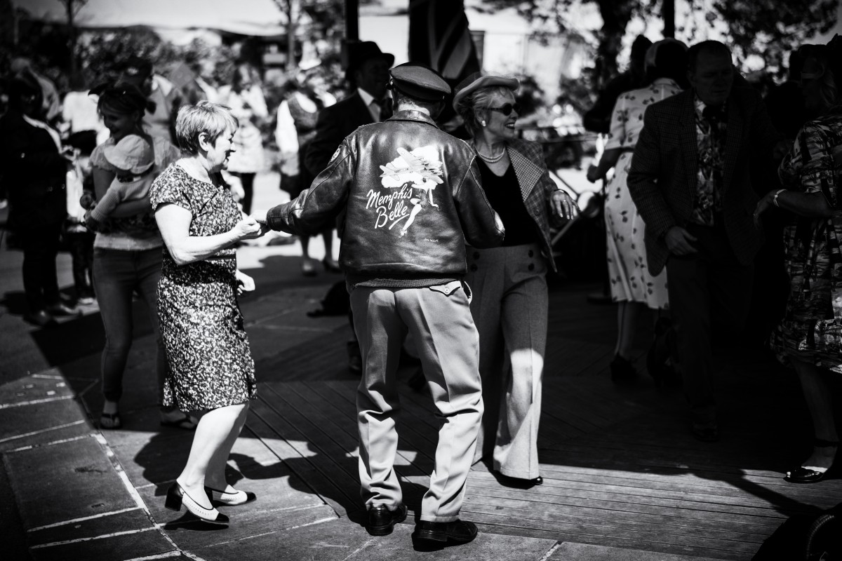Black and white people dancing
