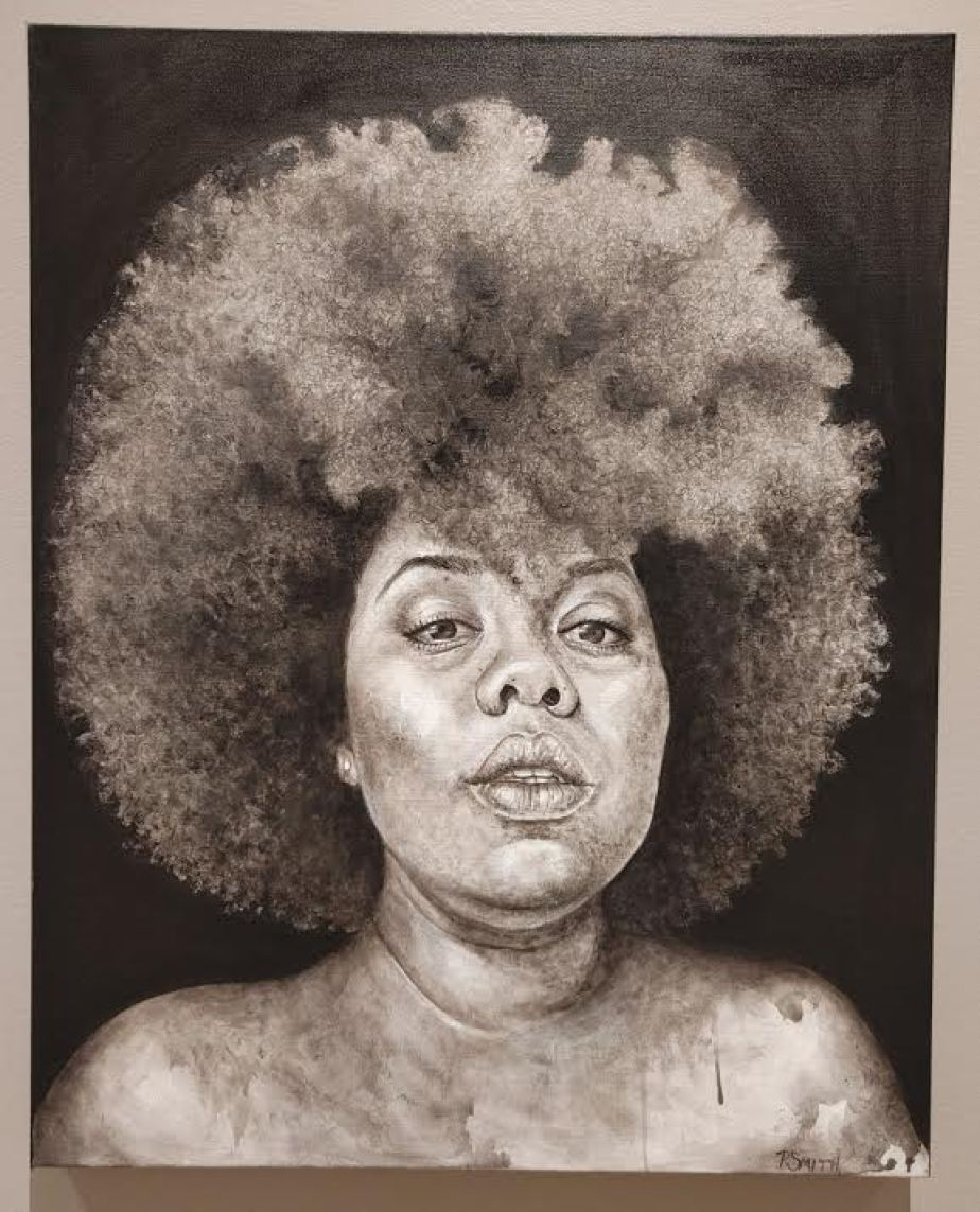 A painting in brown tones of a woman with an Afro.