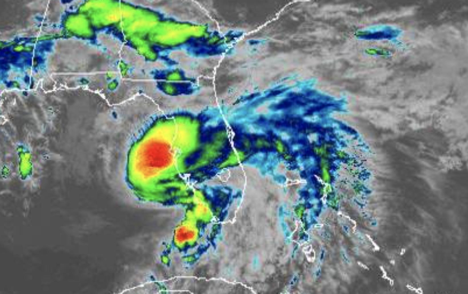 Satellite image of a hurricane near the west coast of Florida.