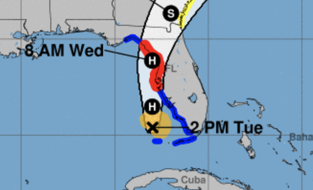 A screen cap of tropical storm else showing the storm track and anticipated arrival over a map of Florida and the southeastern US.