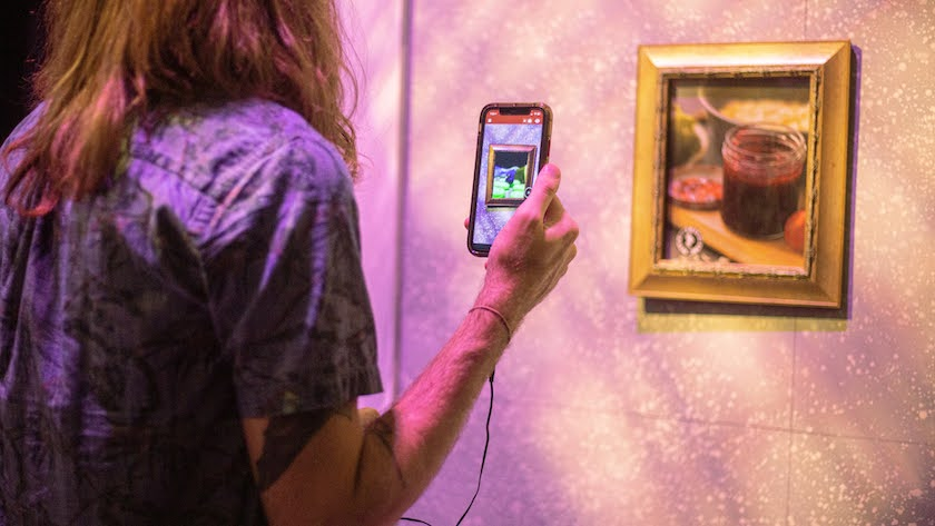 W photo of the back of a woman holding her phone up to a framed piece of art on the wall.