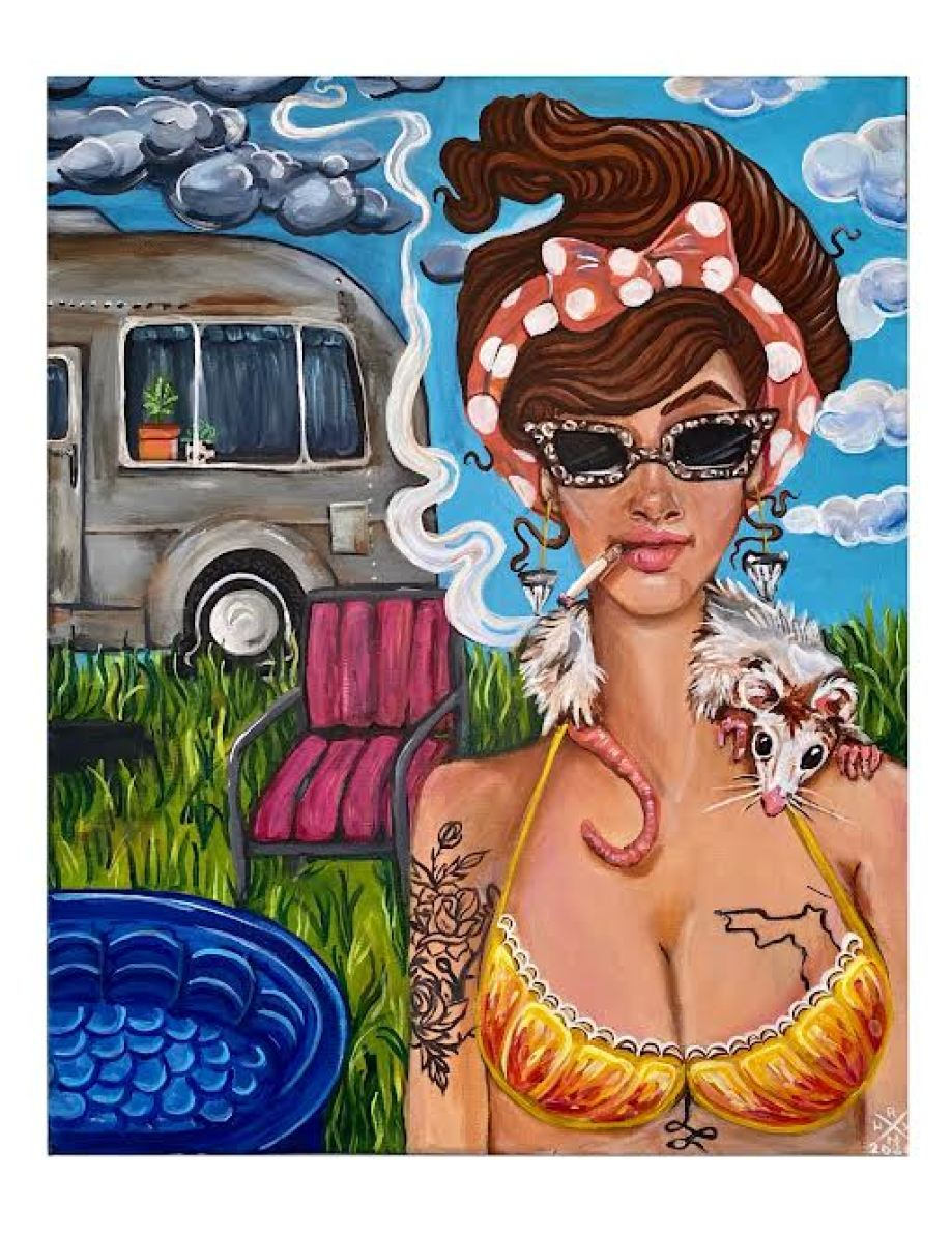 A painting featuring a cartoon scene of a woman in sunglasses and a bikini top with a cigarette in her mouth looking at the viewer from the grass with an RV in the background.