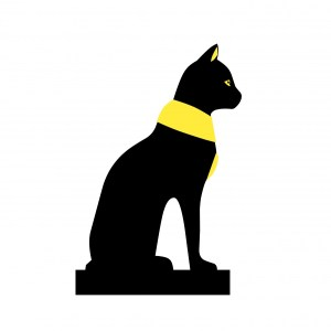 Clip art of a black cat with a yellow color