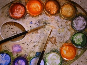 Paint palette with brushes