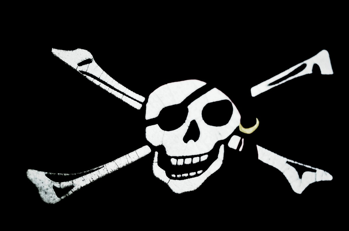 Flag with a pirate skull and cross bones