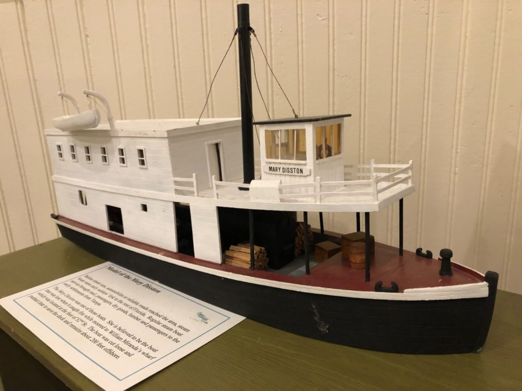 A photo of a model ship in a museum.