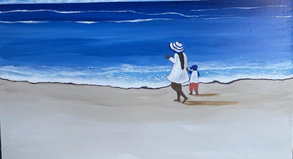 A painting of a woman in a white dress with a small child on a white beach with blue water.
