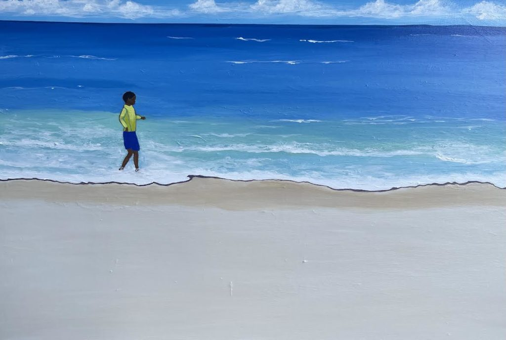 A painting of a small child on a white beach with blue water.