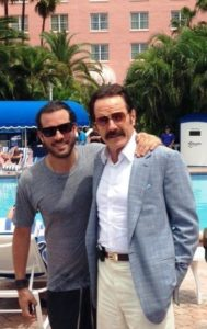 """""""The Infiltrator"""" director Brad Furman, left, with star Bryan Cranston, in costume as Robert Mazur, on set at the Don CeSar recently. The movie also shot scenes in Gulfport. Photo courtesy of Loews Don CeSar PR Director Jeff Abbaticchio."""