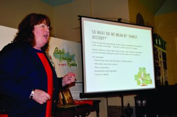 Cathy Paunov of St. Petersburg, a member of the Church of Jesus Christ of Latter-day Saints, also known as Mormons, addresses members of the Gulfport Historical Society Friday on April 15 on the topic of free data bases for doing genealogical research.