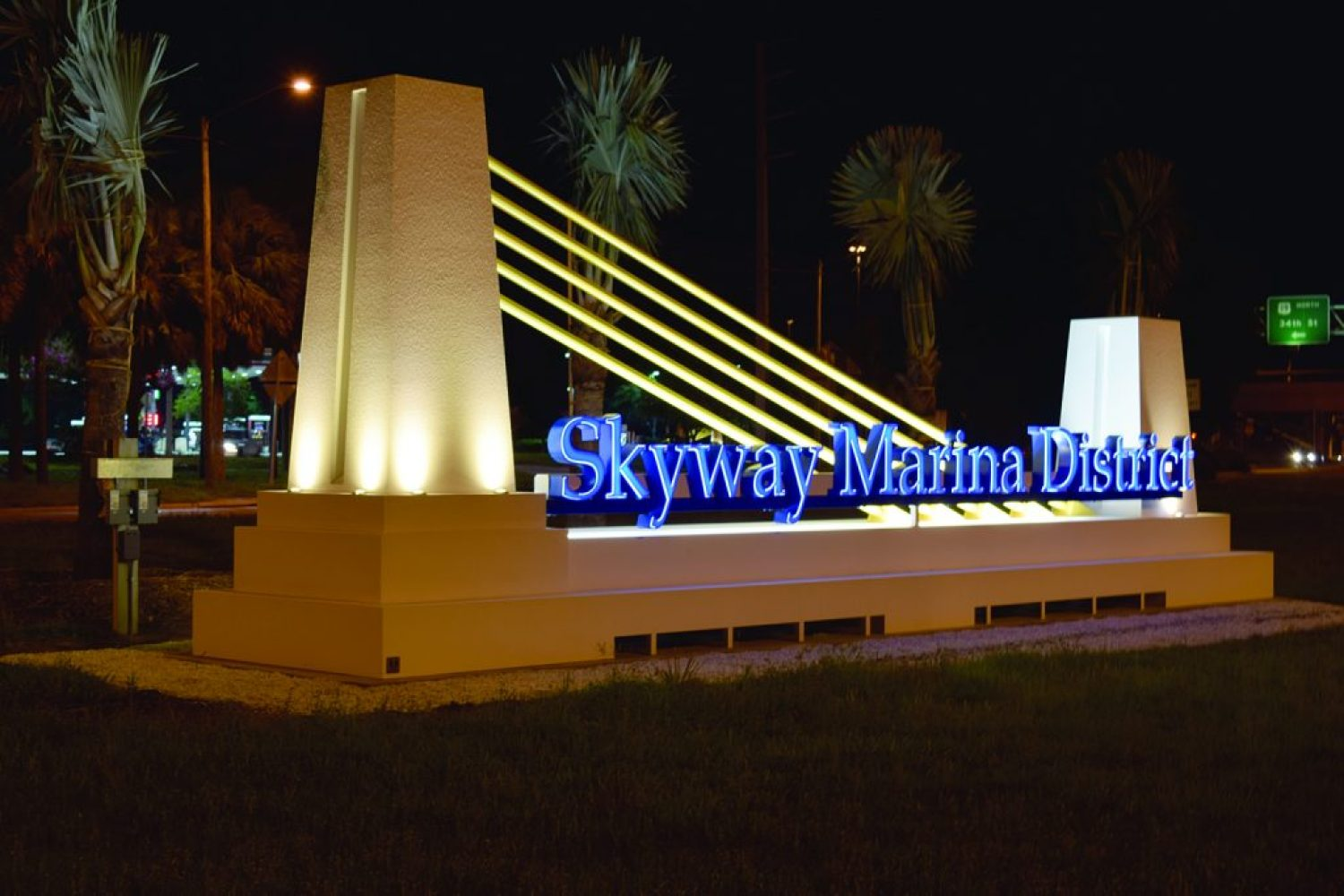 One of three new gateway signs to the Skyway Marina District can be seen on the Pinellas Bay Way (682) near the intersection with 34th Street S.