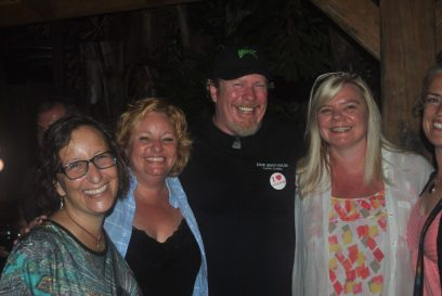 Sam Henderson celebrates with supporters at Pia's Trattoria Tuesday night.