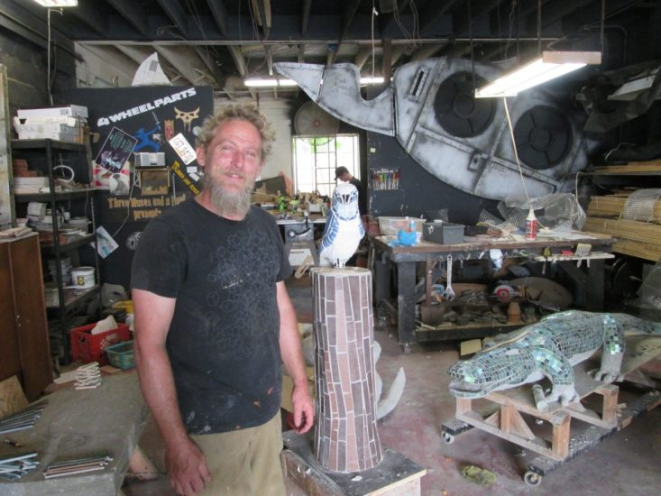 Gulfport metal artist Tom Pitzen showcases some new artwork in his Gulfport studio.