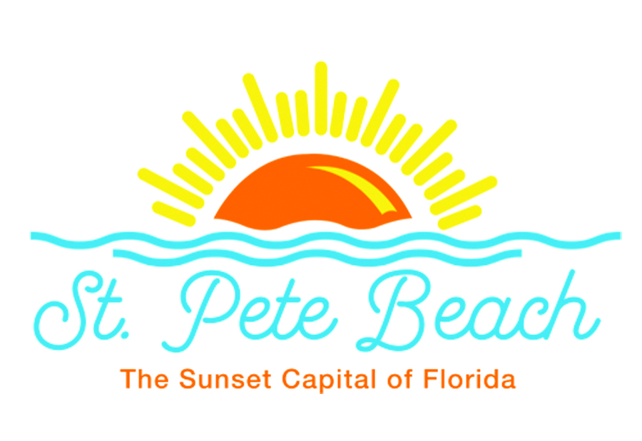 """The logo for the City of St. Pete Beach Florida featuring a drawing of a sun setting over blue lines of water over the words """"St. Pete Beach"""" in blue and the words """"The Sunset Capitol of Florida"""" in orange letters below."""