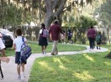 Parents and their children walk along a tree-lined path to Gulfport Montessori Elementary School Monday on the first day of classes.