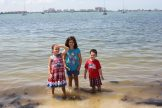 Isabella, Madison and Noah Goulet take some time to cool off during the Fourth of July festivities.
