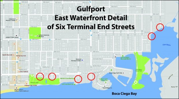 Terminal streets in east Gulfport that allow surface water to flow into Boca Ciega Bay are detailed with red circles on the locator map.