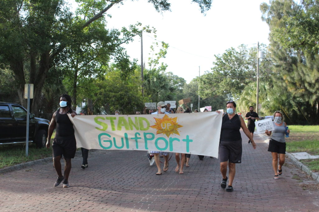 """""""Gulfport supports!"""" resounded throughout the streets of Gulfport as over 40 individuals gathered Monday evening, June 8 to rally against police brutality and in support of Black Lives Matter."""