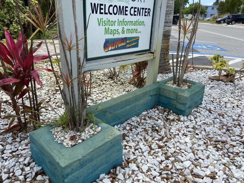 Gulfport welcome center sign with rock