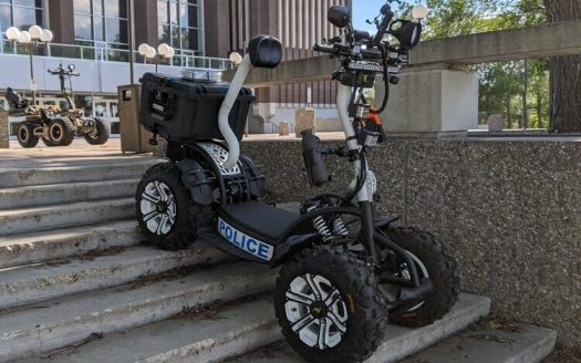 Traverse rugged terrain up to 40 MPH and tow 1000 LBS in this electric stand-up ATV