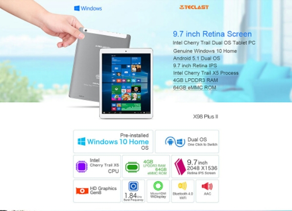 Teclast X98 Plus II Specifications and Pricing