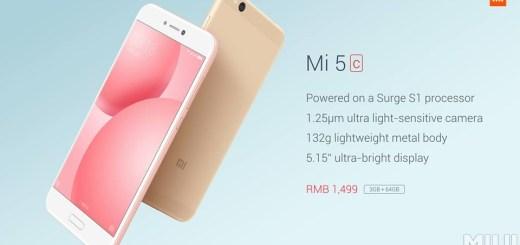 Official: Xiaomi Mi 5c with Octa-Core Surge S1 SoC, 64GB Storage