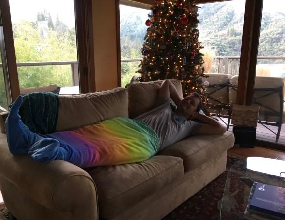 Merman Adam loves Christmas in Oregon