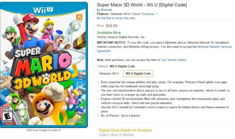 Nintendo digital downloads