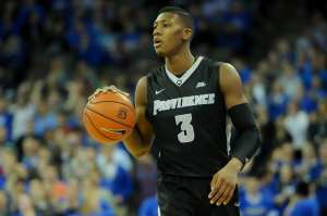 Jan 12, 2016; Omaha, NE, USA; Providence Friars guard Kris Dunn (3) dribbles against the Creighton Bluejays during the first half at CenturyLink Center Omaha. Mandatory Credit: Steven Branscombe-USA TODAY Sports