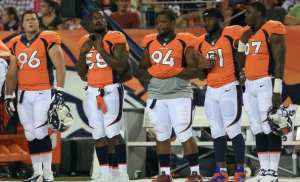 DENVER, CO - AUGUST 29: Defensive players Mitch Unrein #96, outside linebacker Von Miller #58, defensive tackle Terrance Knighton #94, defensive end Robert Ayers #91 and defensive end Malik Jackson #97 of the Denver Broncos look on from the sidelines against the Arizona Cardinals during preseason action at Sports Authority Field at Mile High on August 29, 2013 in Denver, Colorado. (Photo by Doug Pensinger/Getty Images)