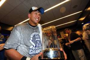 A-Rod celebrating winning the World Series in 2009. Photo courtesy of Charles Wenzenburg of the N.Y. Post.